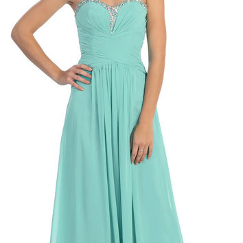 Studded Sweetheart Neck Mint Long A Line Prom Strapless Gown