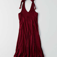 AEO Knit Halter Dress, Burgundy