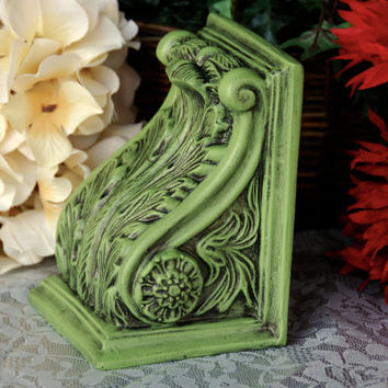 Cottage chic home decor: Ornate vintage apple green hand-painted decorative embossed bookend with leaf & scroll design