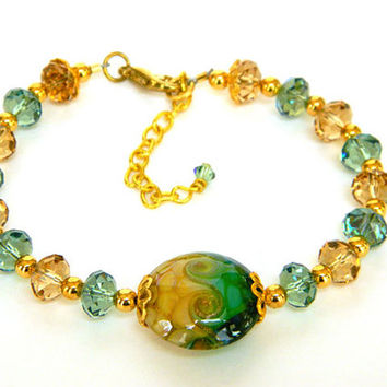 Green and Topaz Crystal Bracelet Handcrafted Lampwork Bead Gold