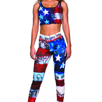 USA Flag Leggings- Sassy Assy Clubwear