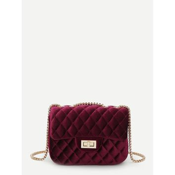 Quilted Twist Lock Chain Bag Red