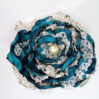 Teal Blue Flower with lace accessory, Hair Clip or Brooch, Wedding, Bridal Sash