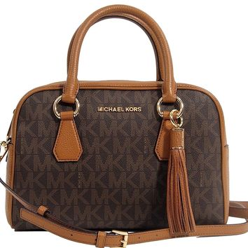 Michael Kors PVC & Leather Convertible Medium Tassel Satchel Crossbody Handbag Bag - Brown / Acorn