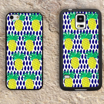 Pineapple iPhone Case-Navy Blue yellow iPhone 5/5S Case,iPhone 4/4S Case,iPhone 5c Cases,Iphone 6 case,iPhone 6 plus cases,Samsung Galaxy S3/S4/S5-028