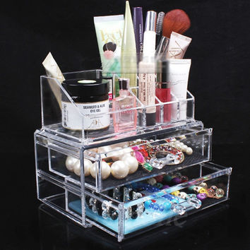 E74 New Arrive Clear Acrylic Cosmetic Makeup Organizer 3 Drawer Storage Jewellery Box