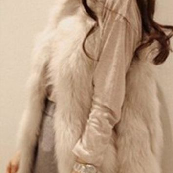Colete De Pele Feminina 2017 Fall Winter Elegant Ladies Fake Fur Vest Sleeveless Fall  Office Party Long Fur Waistcoat Coat X751