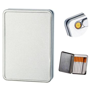 Usb Cigarette Lighter Case Cigarette Box Electronic Flameless Rechargeable Windproof Lighters Can Hold 16 Cigarette Smoke (Silver usb lighter)
