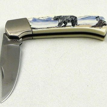 Scrimshaw by Sabre Bear Pocket Knife