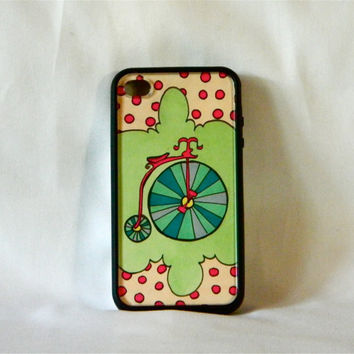 Look Sweet Upon the Seat, iPhone case, iPhone cover, iPhone 4/4s, retro, vintage, hipster, mint, polka dots, pink, woman, bicycle, unique