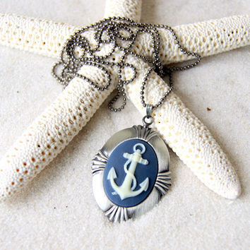 Anchor Necklace - ivory anchor with navy blue background  - Anchor Cameo - Anchor Jewelry - Nautical Fashion - Summer Fashion