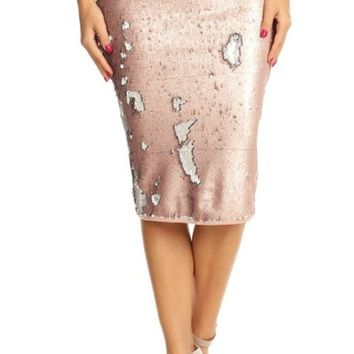 Melyssa High Waisted Sequin Skirt