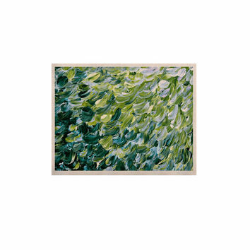 "Ebi Emporium ""Frosted Feathers 3"" Green Yellow KESS Naturals Canvas (Frame not Included)"