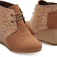 SIENNA BROWN LEATHER PRINTED WOMEN'S DESERT WEDGES
