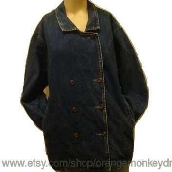vintage 80's GUESS DENIM pea COAT double buttons Jean jacket small medium hipster indie rocker