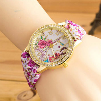 Womens Unique Handmade Cloth Strap Watch with Diamond Best Christmas Gift  Watch-428