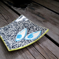 Square Ceramic Plate - Coffee Table Decor - Surrealist - Ceramics and Pottery - Jewelry Tray - Small Pottery Plate - Soap Dish - Teabag Rest