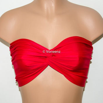 Red Spandex Bandeau, Beach Bra Swimsuit Top, Twisted Top Bathing Suits, Spandex Bandeau Bikini