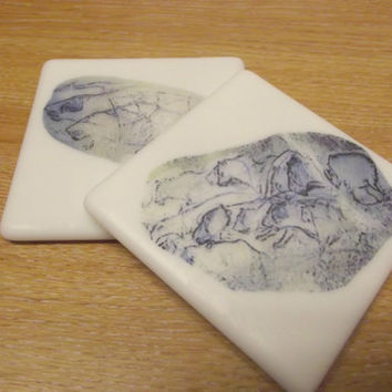 Glass Coasters Cave Art by SimonAldersonGlass on Etsy