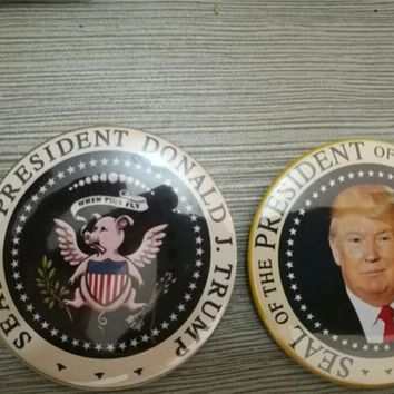 """seal of President Donald Trump 2017 victor Buttons Pins Badges 2.25"""" make america great again when pig fly funny Badges"""