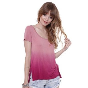 Heart & Hips Junior's T-AY13510D1 Dusty Rose Pink Ombre Tunic Top