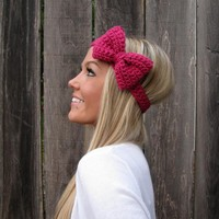 Antique Rose Bow Headband with Natural Vegan Coconut Shell Buttons - Adjustable