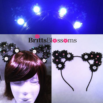 Black Daisy LED Cat Ears, Cat Ears, Flower Cat Eats, Flower headband, Flower halo, Flower crown