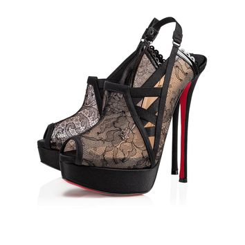 GUIPTIK LACE CHANTILLY/CREPE SATIN 150 Black Dentelle - Women Shoes - Christian Louboutin