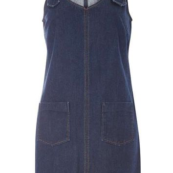 Petite Denim Buckle Pinny Dress