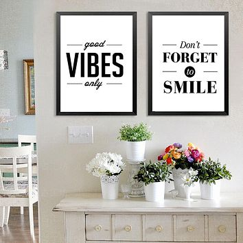 Nordic Minimalist Motivational Good Vibes Only Quotes Canvas Painting Poster Wall Art Canvas Paintings Wall Pictures Home Decor