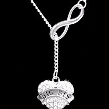 Crystal Big Sis Heart Gift Sister Christmas Gift Infinity Lariat Necklace