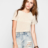 Full Tilt Solid Womens Fitted Tee Oatmeal  In Sizes