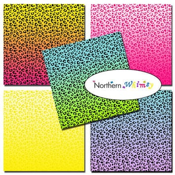 Cheetah Print Ombre Digital Paper Pack – digital scrapbook papers with rainbow ombre cheetah print patterns – instant download – CU OK