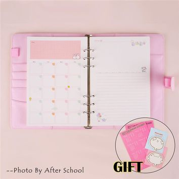 Macaron Notebook A5 A6 Note Book Leather Spiral Binder Planner Korean Kawaii Agenda Notepad Cover With Filler Papers Caderno