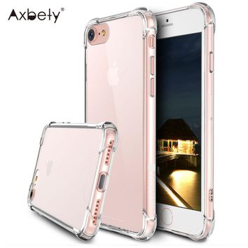 Axbety Crystal Case For iPhone 6s Case Simple Transparent Clear Hard PC Cover Coque For iPhone 6 Plus Shockproof Phone Cases