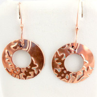 Fern Grotto Embossed Copper Hoop Earrings, Dangle Earrings, Fashion Jewelry, Career Wear, Gift, Nature Inspired, Mother's Day, Valentine Day