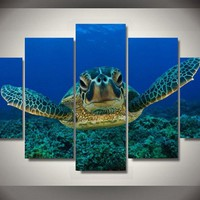 Blue Deep Big Turtle Wall Art