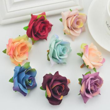 5pcs fake flowers wall Artificial Head for home Wedding Decoration diy make door Wreath Gift Box Scrapbooking Silk Retro roses