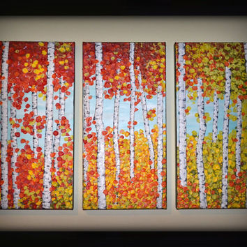 Original Birch Trees Modern Art 36x24 Abstract Aspen Forest Landscape Springtime Home Decor Red Orange Yellow Triptych Painting