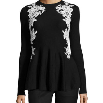Oscar de la Renta Lace-Trim Knit Peplum Sweater, Black/White