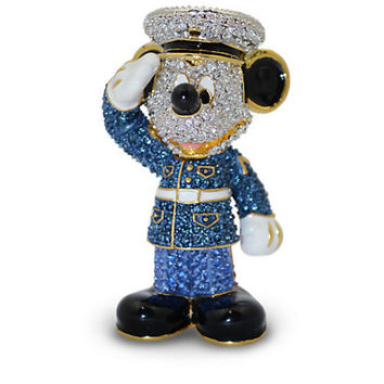 Disney Parks Mickey Mouse Marine Jeweled Figurine by Arribas Brothers New with Box