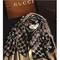 Gucci Fashion Women Easy to match Silk Scarf Coffee