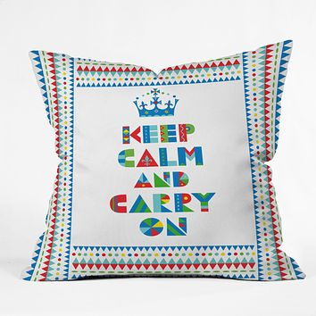 Andi Bird Keep Calm And Carry On Throw Pillow