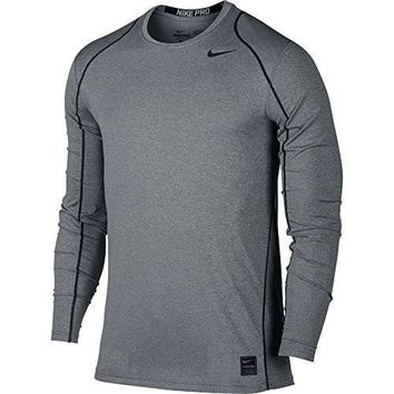 Nike Mens Pro Cool Long Sleeve Training Shirt Carbon Heather/Black 703100-091 Size Small
