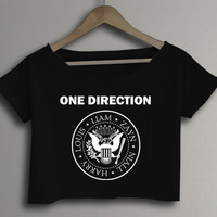 1D One Direction RAMONES Style Logo Crop Top Crop Tee Black and White Women Tee Shirt - ID1