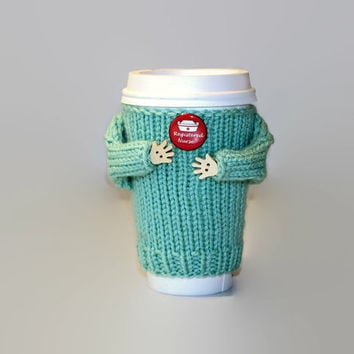 Registered Nurse coffee cozy. Nurse gift. Travel mug sleeve. RN gift. Mug sweater. Knit mug sleeve. Coffee sleeve. Coworker gift. Tea cozy.