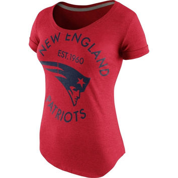 New England Patriots Nike Ladies Crested Scoopneck Tri-Blend T-Shirt – Red