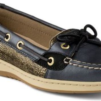 Sperry Top-Sider Angelfish Metallic Slip-On Boat Shoe Black/DarkGold, Size 12M  Women's Shoes