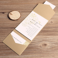 Simple Wedding Invitation with Pocket Design - Golden Wedding Invitation Cards - Wedding Pocket Invitation -Golden and White Theme EWPI044