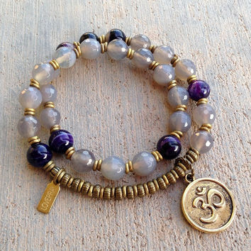 Grey and Purple agate 27 bead mala wrap bracelet™ with Om charm